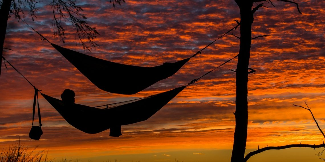 Camping Hammocks at Sunset
