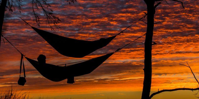 Camping Hammocks at Sunset